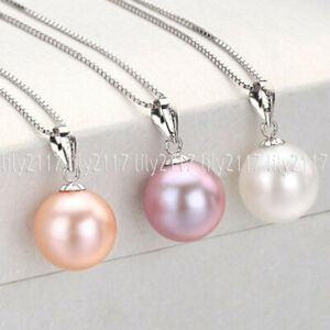 3pcs Beauty 14MM White Pink Purple Round Shell Pearl 925 Silver Pendant Necklace