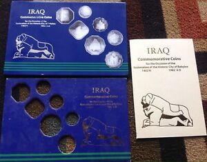 1982 Iraq Commemorative issue Restoration of Babylon Coins holder +Book + cover