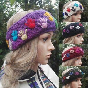 Fair Trade Boho Hippy  Hand Knitted Fleece Lined Wool Headband Winter Ski Hiking