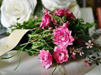 Mit Draht Blätter Blüten Rosa 180cm Pink Geländer Girlande Deko Grüne Blumen