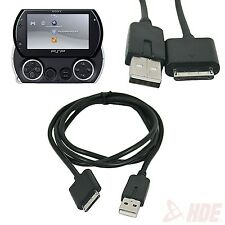 Black 2 in 1 USB 2.0 Data Sync Charger Transfer Cable Cord for Sony PSP Go