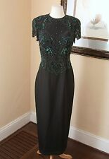 Vintage Victoria Royal Silk Beaded Sequin Formal Evening Gown Dress Black Green