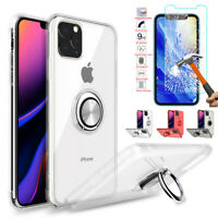 iPhone 11 Pro Max Case Clear Cover Shockproof Ring Holder Stand+Screen Protector