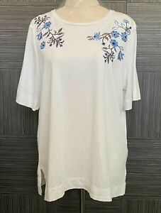 Sportscraft Womens White Floral Short Sleeve Blouse Size L