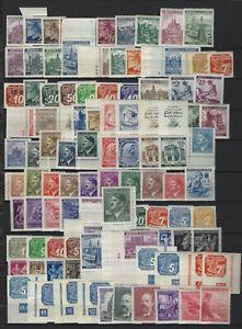 Böhmen und Mähren 100 verschiedene postfrische Marken und 5 Zusammendrucke