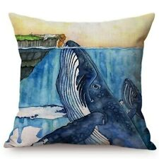 Blue Whale Style Ocean Animal Cushion Cover Water Color Painted Girls and Whale