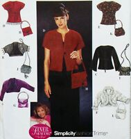 Misses 6-12 Evening Jackets Purses Handbags Simplicity 9016 Pattern New VTG 1999