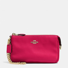 NWT Coach Leather Large Wristlet 19 Chain Clutch Bright Pink F53340-New $150