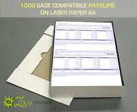 1000 SAGE COMPATIBLE PAYSLIPS ON LASER PAPER A4 210x297mm 2up 068025/SGE010/SE95