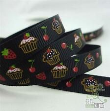 "10 Yard Black Cakes Spring Cartoon Grosgrain Ribbon Craft 3/8""(9mm) Bow Sewing"