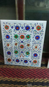 """30"""" White Marble Dining Coffee Side Corner Room Malachite Table Top Mosaic"""