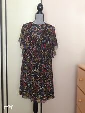 636317056bb27 See By Chloe Ruffled Floral Printed Chiffon Silk Dress New Sz 38