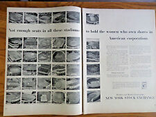 1953 New York Stock Exchange Ad Woman Who Own Shares Football Stadiums shows 36