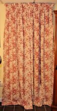 "LAURA ASHLEY PAIR DRAPES  BURGUNDY FLOWERS CREAMY BACKGROUND 84"" X 40"""