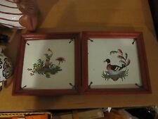 """PAIR @ 2 ANTIQUE 1900 FRENCH GEO. MARTEL DESVRES, FRANCE CHINOISERIE TILES 6""""X6"""""""
