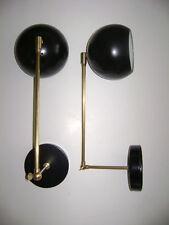 LARGE Pair STILNOVO Arteluce BLACK & BRASS Ball SCONCE Lamp LIGHTS Mid Century