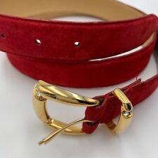 Vintage Liz Claiborne 90s Belt Red Suede Gold Buckle With Rhinestones Sz 14/16