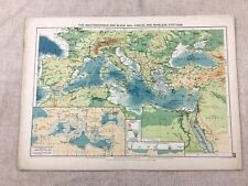 1920 Maritime Map of The Mediterranean Black Sea Cables Wireless Station Ships