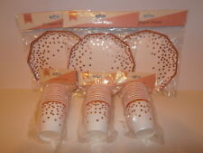 Rose Gold Confetti Let's Party Tableware - Paper Cups and Plates - 30 of each
