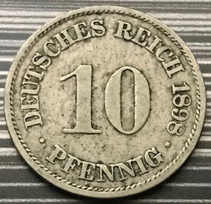 1898 GERMAN 10 PFENNING DEUTSCHES REICH RARE OLD ANTIQUE COIN