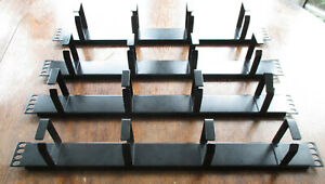 """4 x 1u 4 Ring 19"""" Cable Management Bar Rack Data Cabinet  Black Cable Tidy"""