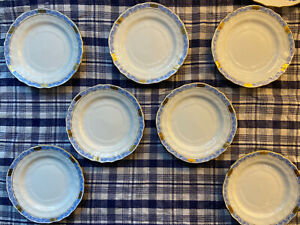 "Herend Chinese Bouquet Garland Blue Tea Saucers 6""D Lot Of 7"