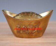 12 CM Chinese Brass Shoe-shaped Gold Ingot Jin YuanBao Wealth Fengshui Statue