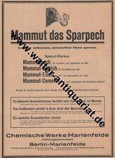 Mammut Pech Chemische Werke Berlin-Marienfelde Große Werbeanzeige v.1926 Reklame