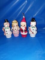 4 1960's Vintage Hard Plastic And Felt Made In Japan Ornaments
