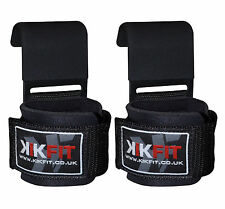 KIKFIT Weight Lifting Gym Bar Steel Hooks Training Straps Deadlift Power Grips
