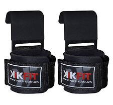 KIKFIT Weight Lifting Gym Bar Steel Hooks Training Straps Deadlift Power Grips