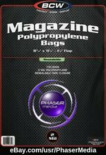 100 BCW Magazine Bags Sleeves Resealable Polypropylene 1-MAG-R