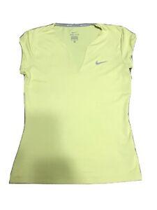 Nike Yellow Dri-Fit Tennis Shirt sz S Stretchy Material Moisture Wick Athleisure
