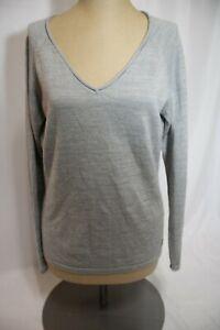 Smartwool Gray Long Sleeve V-Neck Merino Wool Knit Sweater Women's Size Medium