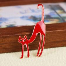 Lapel Collar Corsage Brooch Pin Red Women Jewelry Enamel Cute Cat Blouse
