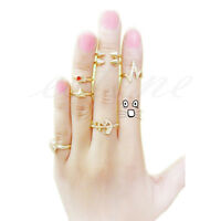 7Pcs Cool Cute Skull Anchor Gold Cut Above Knuckle Ring Band Midi Rings Mix New