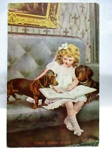 1907 POSTCARD EASTER GREETING,FIRST LESSON IN ART, GIRL WITH WEINER DOGS