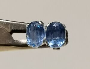Genuine Nepalese Kyanite 2.26ct 7x5mm Oval Stud 925 Sterling Silver Earrings