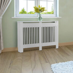 White Radiator Cover Small Large Modern MDF Slats Wood Grill Cabinet Furniture