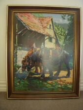 "Framed WOOL TAPESTRY - ""Horses Drinking At The Trough"" - Nickel Royal Paris."