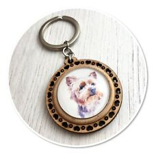 Yorkshire Terrier Yorkie Dog Wooden  keyring key ring