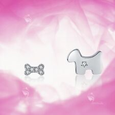 925 silver earrings simulated diamond puppy dog bone stud for kids baby