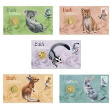 2011 Australian Bush Babies PNC Stamp & $1 UNC Coin Covers Set of 5