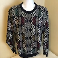 Vtg Jantzen Mens Sweater Crewneck Geometric Multicolor USA Made Large Hip Hop