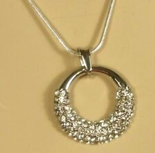 "White Gold 18kgp Round Ring Pendant Clear Crystal with 18"" Necklace Lobster Claw"