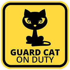 """#887 3"""" (1) Beware of Cat Guard Cat on duty Decal Sticker LAMINATED YELLOW"""