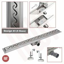 """Rectangular"" Stainless Steel Shower Wetroom Drainage Gully - 600mm to 1500mm"