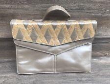 Vintage Timmy Woods Snakeskin Opalescent Shoulder Bag Attache Briefcase Purse