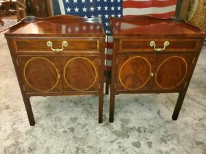 COUNCILL CRAFTSMEN BED SIDE TABLES – FLAME MAHOGANY W/ MAPLE INLAY