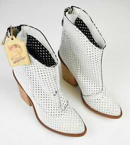 RRP €340 DIESEL Women UK 5.5 EUR 38 Perforated Leather Ankle Boots Heels 17196_